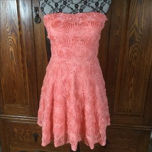 Delia's Pink Rosette Strapless Fit & Flare Dress